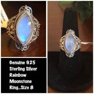 Genuine 925 Sterling Silver Rainbow Moonstone Ring